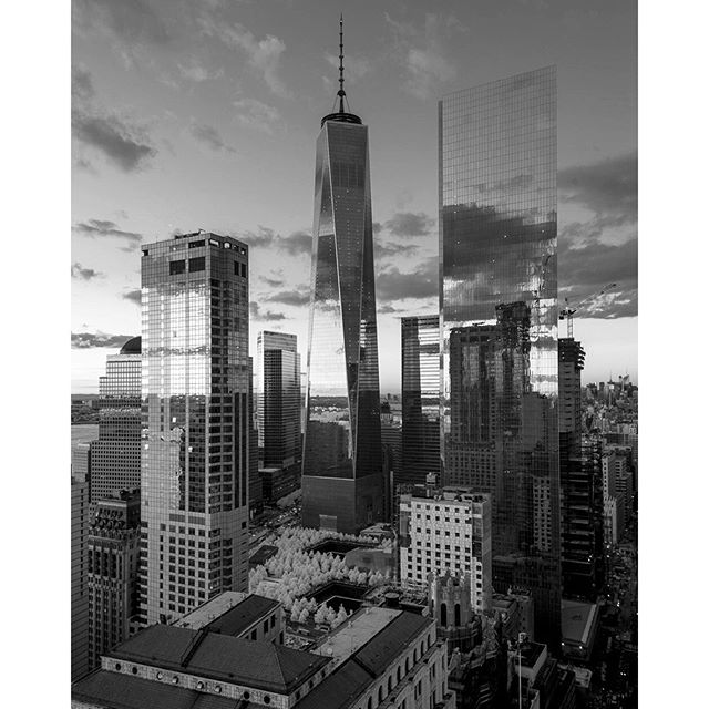 Rooftop view of #1wtc from last week. #nyc #blackandwhite #architecture #infrared